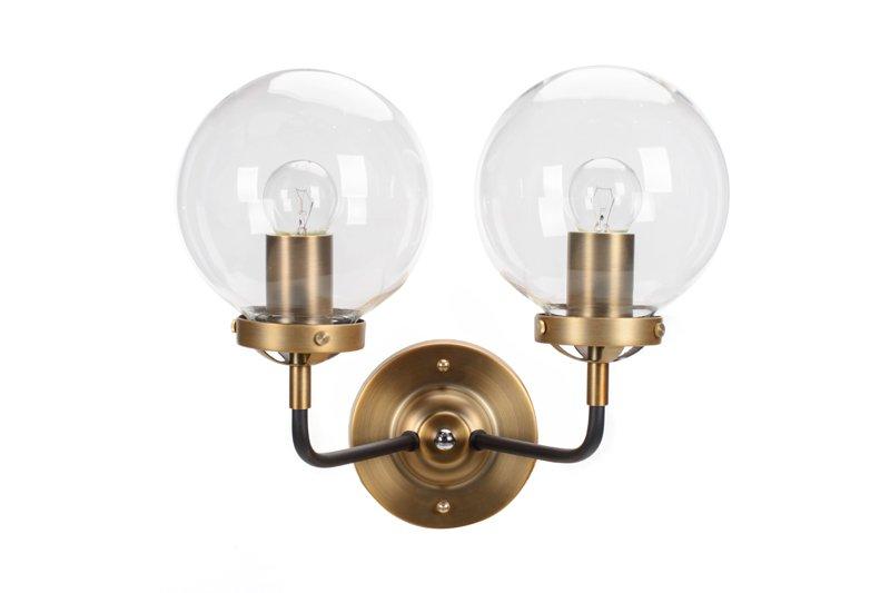 Kinkiet Lampa Ścienna MORED 2 Złota Czyste Szkło