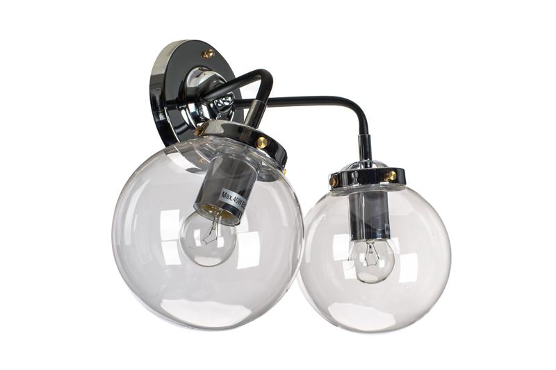 Kinkiet Lampa Ścienna MORED 2 Chromowana Czyste Szkło