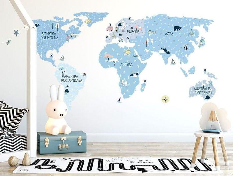naklejka | mapa świata - ice cold Pastelowe Love