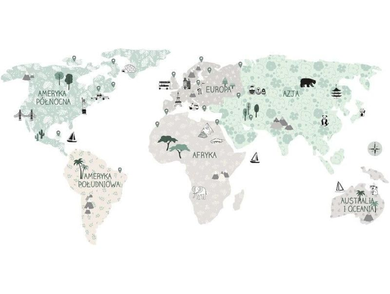 naklejka | mapa świata - tropic sand Pastelowe Love