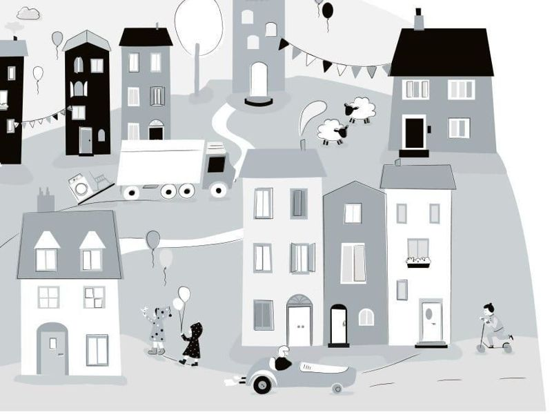 naklejka | miasteczko szare Pastelowe Love